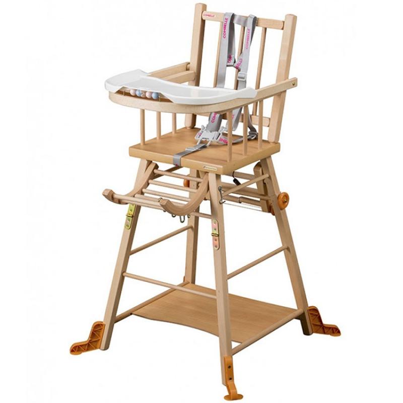chaise haute en bois bébé
