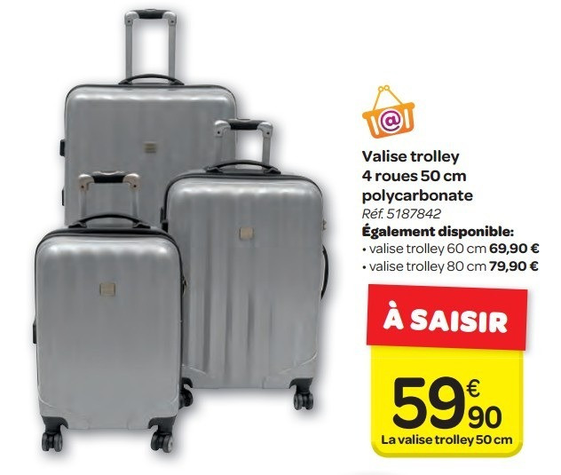 carrefour bagage roulettes